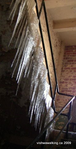 dow brewery, ice-laden stairs