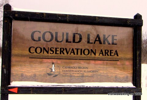 gouild lake conservation area sign at entrance