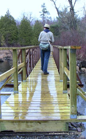 Rideau Trail, matt on bridge at Gould Lake Conservation area.