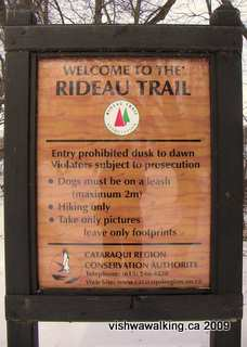 Rideau Trail, sign at the start of the trail